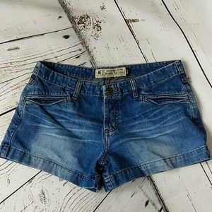 Button fly jean shorts